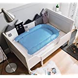 Bassinet for Bed, V-mix Portable Super Soft Baby Lounger, Co-Sleeping Cribs Perfect for Cuddling, Lounging Breathable & Hypoallergenic, Safety Sleeping (Blue stripes)