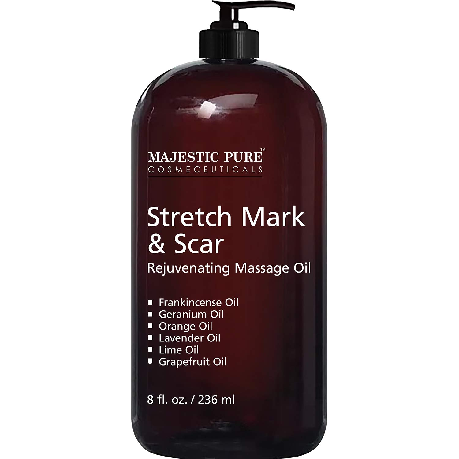 Majestic Pure Stretch Mark and Scar Rejuvenating Massage Oil, for Softer & Smoother Skin - Visibly Reduces Appearances of Scars and Stretch Marks - 8 fl oz