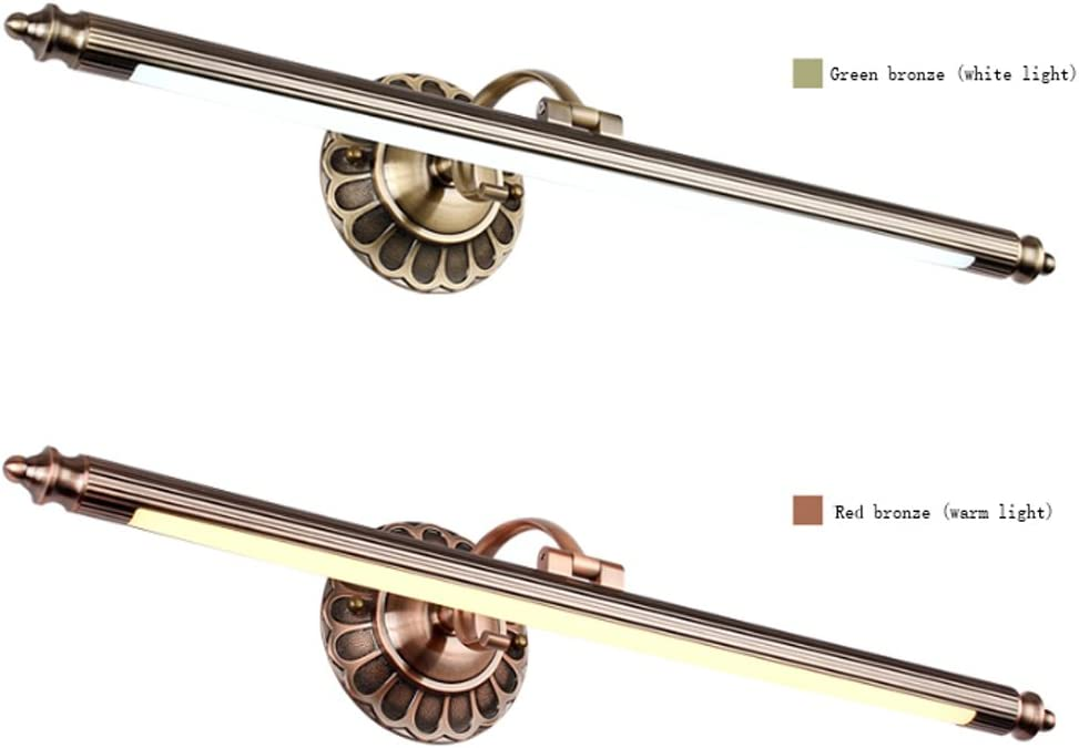 Color : Green bronze XiaoXiao Mirror Front Lamp LED European Mirror Front Lamp Impermeable antiniebla Bathroom Retro Wall Lamp Dressing Mirror Cabinet Light Vanity Bath Light