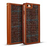 DesignSkin IP6PWBTW4301 iPhone 6S/6 Plus Case (5.5''), Wetherby Handcrafted Genuine Leather Tweed Folio Flip Cover ID Card Slot Banknote Storage Wallet Smartphone Case - Glen Check/Brown