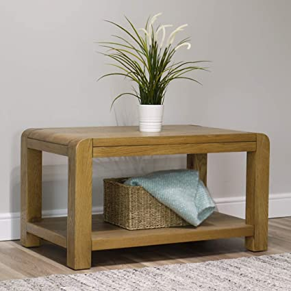 Turin Oak Coffee Table With Shelfrounded Curved Edgesliving Room Storage