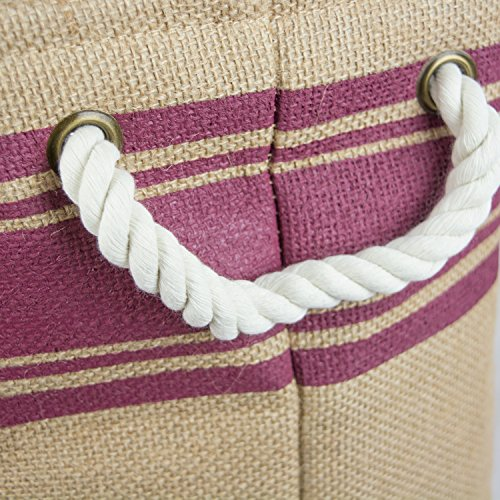 """DII Collapsible Burlap Storage Basket or Bin with Durable Cotton Handles, Home Organizational Solution for Office, Bedroom, Closet, Toys, & Laundry (Large Round – 16x15""""), Wine Border by DII (Image #2)"""