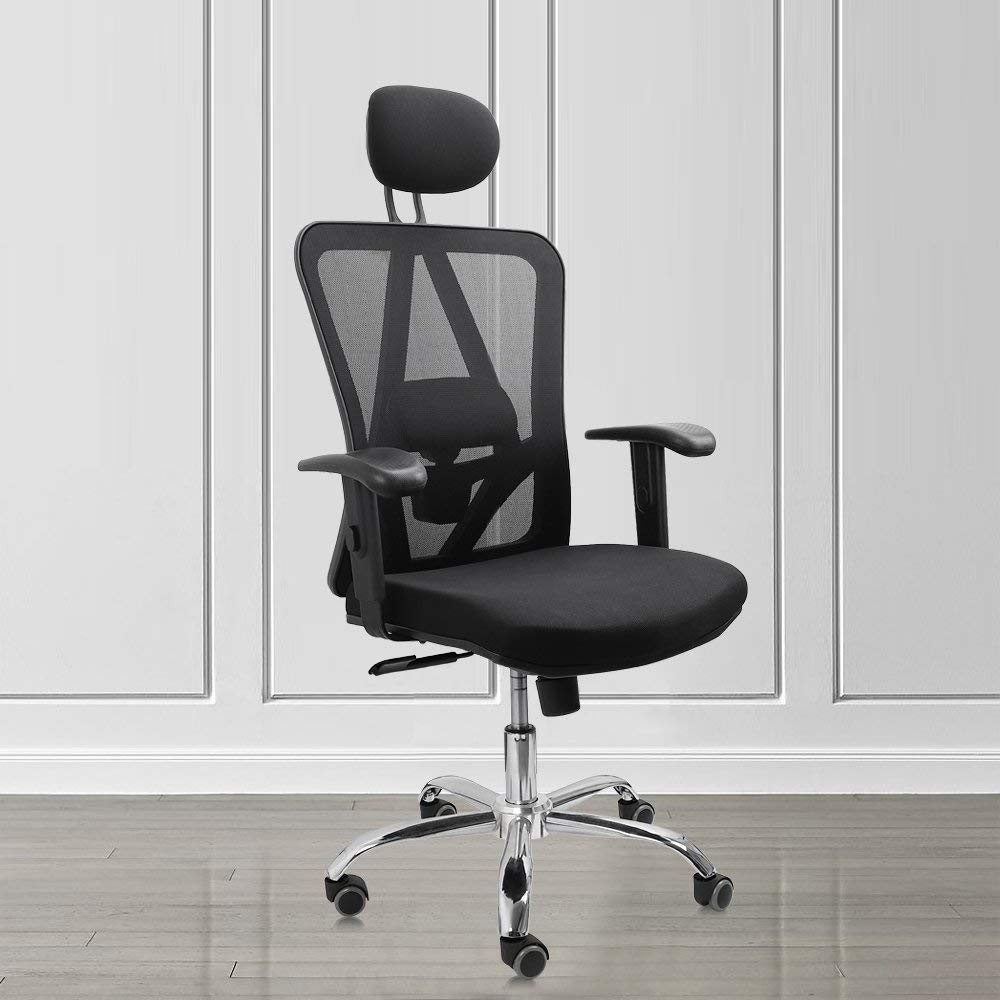 Vesgantti Ergonomic Office Chair, High Back Mesh Office Chair with Ergonomic Design for Lumbar Support and Adjustable Headrest, Computer Desk Chair Ideal for Home Office