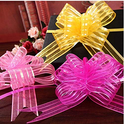 Jammas 8 Colors 10 PCS Wedding car Sheer Garland 5cm Organza Pull Bows Gift Ribbon Butterfly thighed Hand Flower Garland - (Color: Yellow)