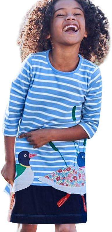 DAY8 Fille 2 /à 8 Ans Vetement Robe Princesse a la mode Hiver Robe de Soir/ée Fille ete pas cher Robe Enfant Fille Fashion Rayures Printemps Tutu Robe B/éb/é Fille Manche Longue
