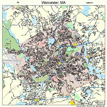 Large Street Road Map of Worcester Massachusetts MA Printed