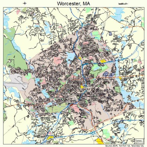 Large Street & Road Map of Worcester, Massachusetts MA - Printed poster size wall atlas of your home - Road Map Worcester