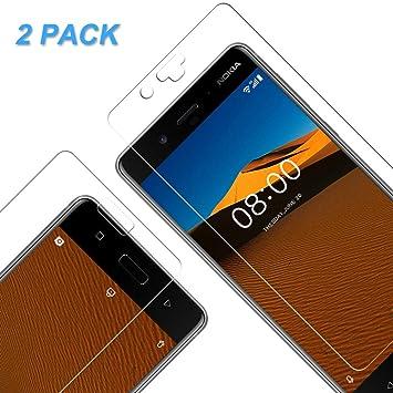 [2 Unidades] Protector de Pantalla para Nokia 8,Cristal Vidrio Templado Premium [2.5d Borde] 9H Dureza, Sin Burbujas para Nokia 8