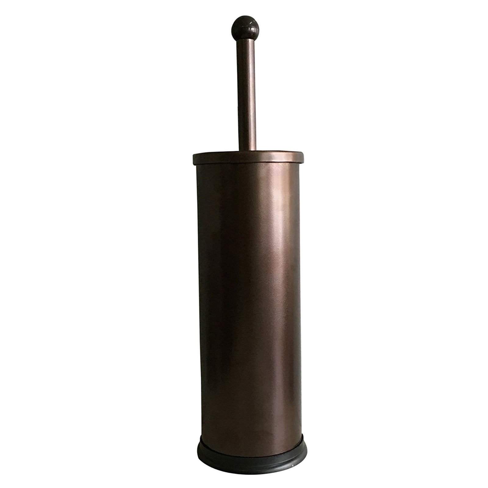 HUJI Rust Resistant Bronze Toilet Brush Holder with Lid Perfect Bathroom Bowl Cleaning Set Gift for House Warming or College Dorms Accessories (1, Bronze Toilet Brush)