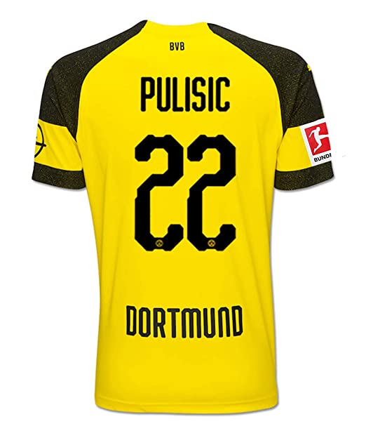 12f28cf5966 Bigling Borussia Dortmund  22 Pulisic 2018-2019 Home Men s Soccer Jersey    Armbands Size