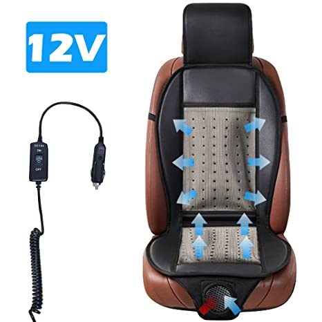 Cooling Car Seat Cushion Black 12V Automotive Universal Fit Full Size Ventilate Breathable