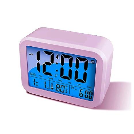 Reloj despertador digital LED Alarma Reloj Pantalla Tiempo, temperatura, Semana