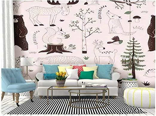 Amazon Com Self Adhesive Wallpaper Roll Paper Summer Forest Seamless Woody Landscape With Bear Deer Hare Wolf Removable Peel And Stick Wallpaper Decorative Wall Mural Posters Home Covering Interior Film Home Kitchen