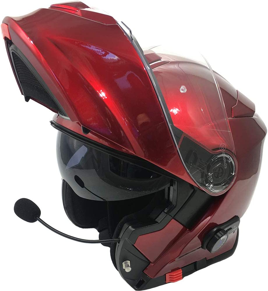 3.0 Bluetooth Flip-Up Motorcycle Helmet Burgundy Viper RS-V171 BL