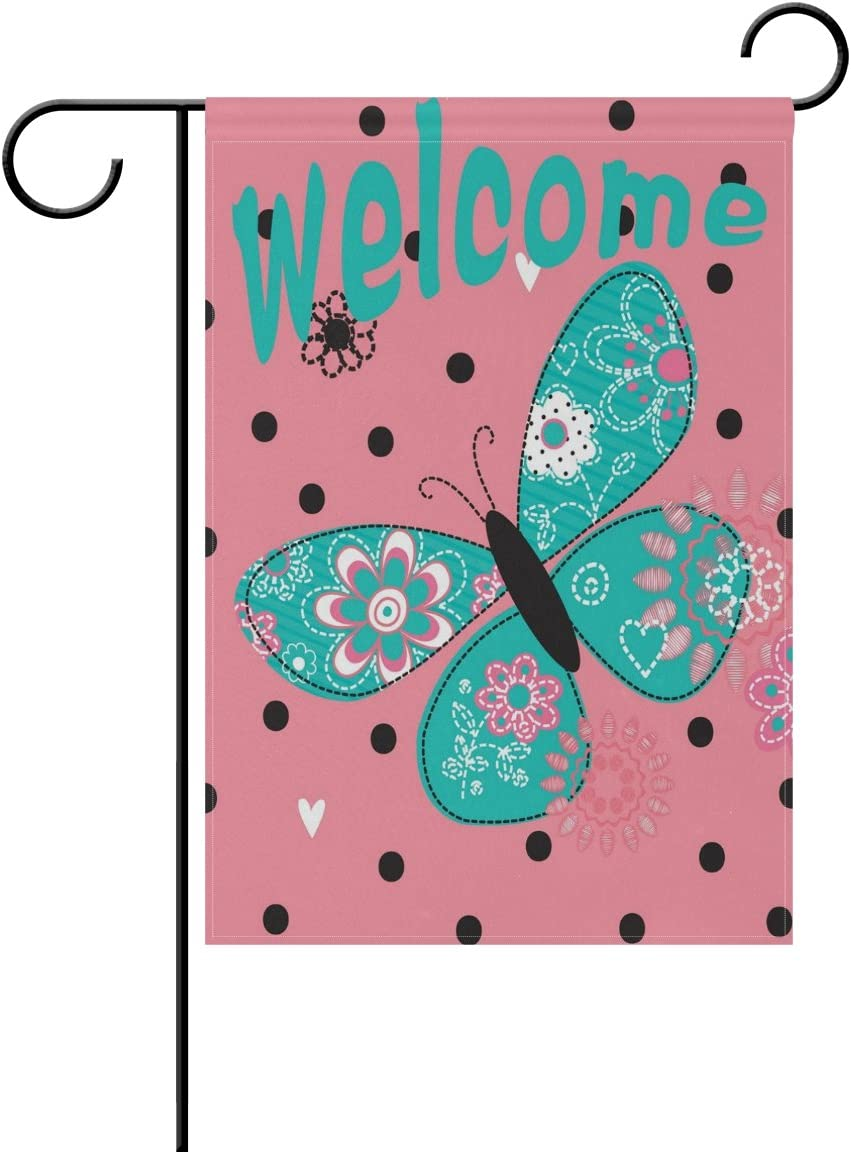 WXLIFE Welcome Garden Flag 12 X 18 Inches, Flower Butterfly Polka Dot Double Sided Outdoor Yard Yall Garden Flag for Wedding Party House Home Decor