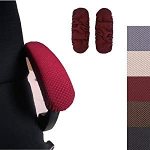 Ousicas Chair Arm Pad Covers Overs,Removable Washable Office Chair Armrest Covers Pads (Wine red)