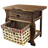 DL-Furniture - Fully Assembled Night Stand With Basket Extra Storage | 2 Tier 1 Basket | Finish: Nature