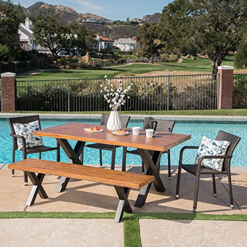 Great Deal Furniture 303777 Truda Outdoor 6 Piece Stacking Multibrown Wicker Dining Set with Brown Walnut Finish Light Weight Concrete Table and Bench, Black