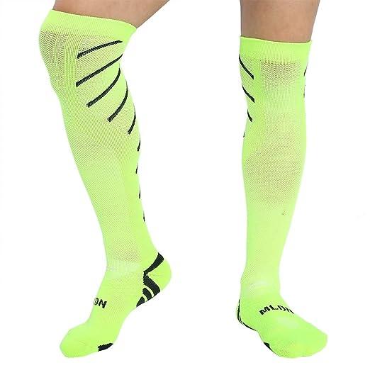 1 Par de Calcetines de Alta Rodilla para Fútbol Antideslizante Calcetines Deportivos para Fútbol Running Ciclismo (Color : Green+Black) : Amazon.es: ...