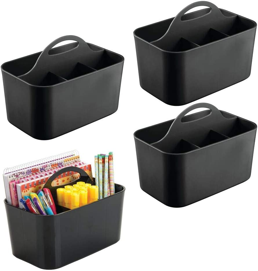 mDesign Small Office Storage Organizer Utility Tote Caddy Holder with Handle for Cabinets, Desks, Workspaces - Holds Desktop Office Supplies, Gel Pens, Pencils, Markers, Staplers - 4 Pack - Black