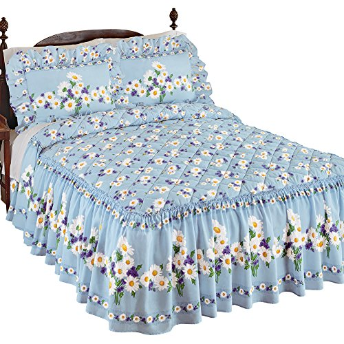Collections Etc Daisy Bloom Floral Ruffle Skirt Lightweight Bedspread, ()