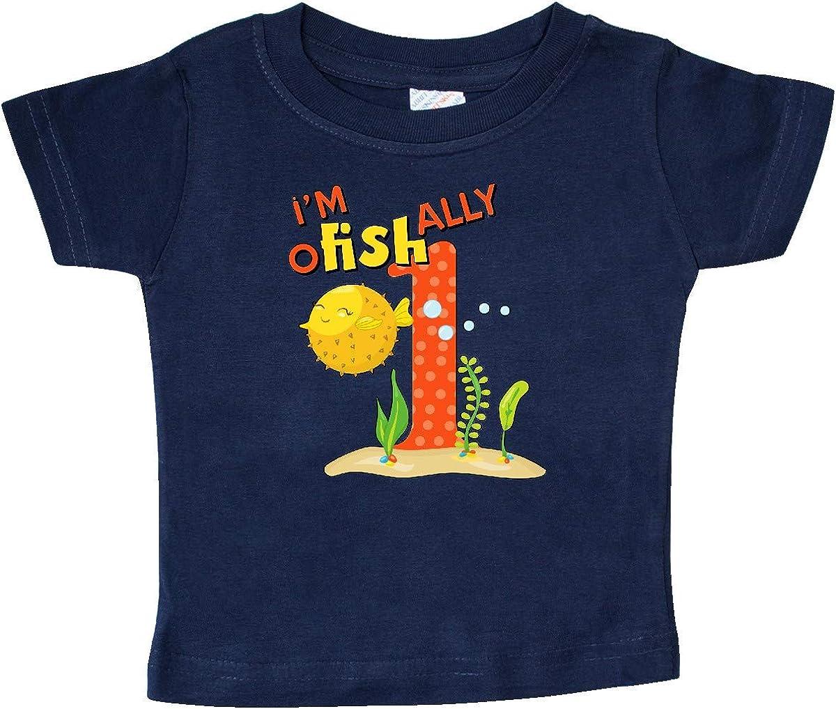 Cute Puffer Fish First Birthday Baby T-Shirt inktastic Im O-Fish-Ally One