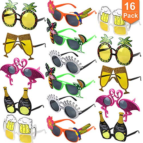 POKONBOY Luau Party Sunglasses, 16 Pairs Novelty Fun Sunglasses Photo Booth Props Funny Hawaiian Glasses, Tropical Fancy Dress Favors, Novelty Party Supplies Decoration for Kids and Adults -