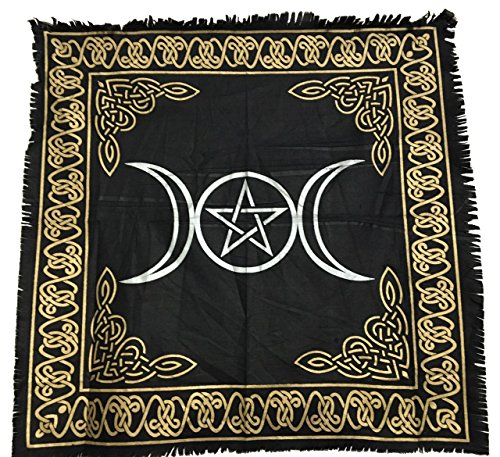 Triple Goddess Altar (vrinda Altar Tarot Cloth, Triple Moon/Goddess with Pentagram)