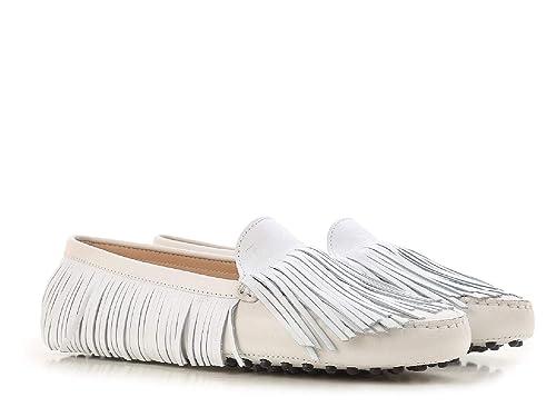 Mocasines de Tods para Mujer Que conducen Mocasines en Gamuza Blanca.: Amazon.es: Zapatos y complementos