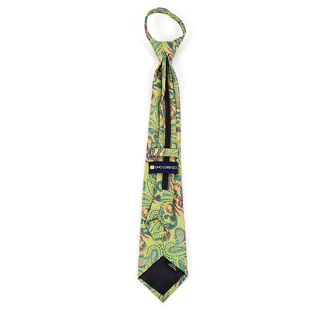 Umo Lorenzo Multi Color Paisley Pattern Boys Zipper Necktie