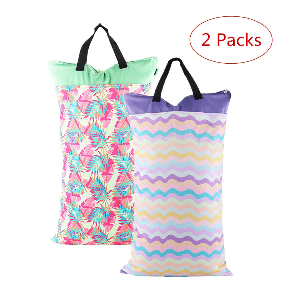 Baby Wet and Dry Cloth Diaper Bags Waterproof Reusable with Two Zippered Pockets, 16'x 27', Animals Dolphin 1 Pack 16x 27 Lolyze