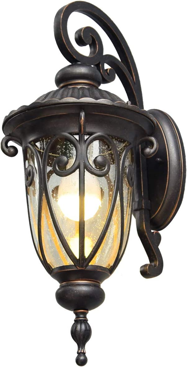 """Goalplus Outdoor Porch Light with Wall Mount Antique Bronze Wall Lantern One-Light E26 Exterior Wall Sconce with Clear Seeded Glass Shade, 18"""" High, IP44 Waterproof, LM0519-DNS"""