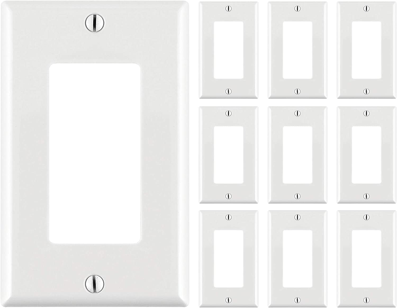 Cmple – 10 Pack White Standard 1-Gang Blank Decora Wall Plate, Polycarbonate Thermoplastic Panel GFCI Single-Gang Cover for Decora Wall Plate