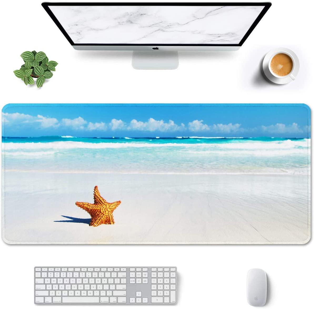 """Auhoahsil Large Mouse Pad, Full Desk XXL Extended Gaming Mouse Pad 35"""" X 15"""", Waterproof Desktop Mat with Stitched Edges, Non-Slip Laptop Computer Keyboard Mousepad for Office and Home, Beach Design"""