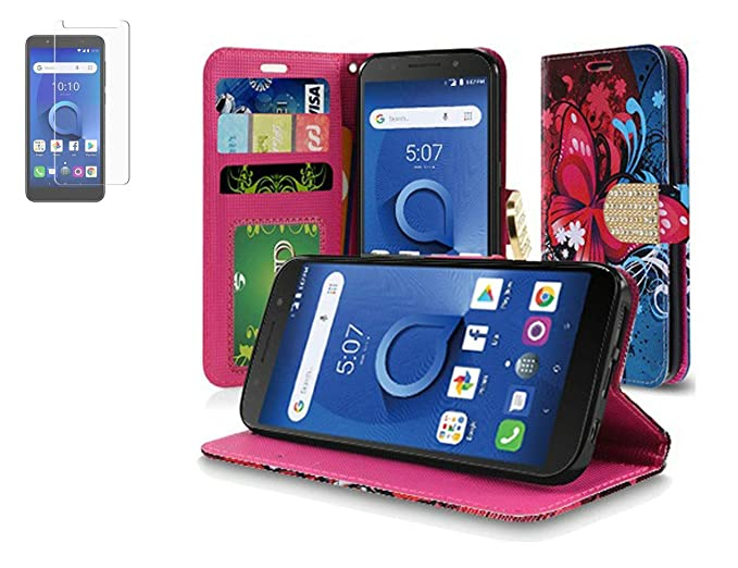 e03673805c68 Amazon.com: Tempered Glass+PU Wallet Case Cover Card and Strap for ...