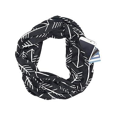 532f29ed48ae7 CADITEX Travel Scarf, Infinity Scarf with Secret Hidden Zipper Pocket  (Arrow Black)