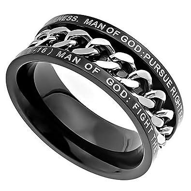 Amazon.com: Anillo de cadena negro para hombre de GOD 1 Time ...