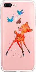 Girlscases® | iPhone 8 Plus / 7 Plus Hülle | Im REH/Rehkitz Motiv Muster | in bunt | Fashion Case Transparente Schutzhülle aus Silikon