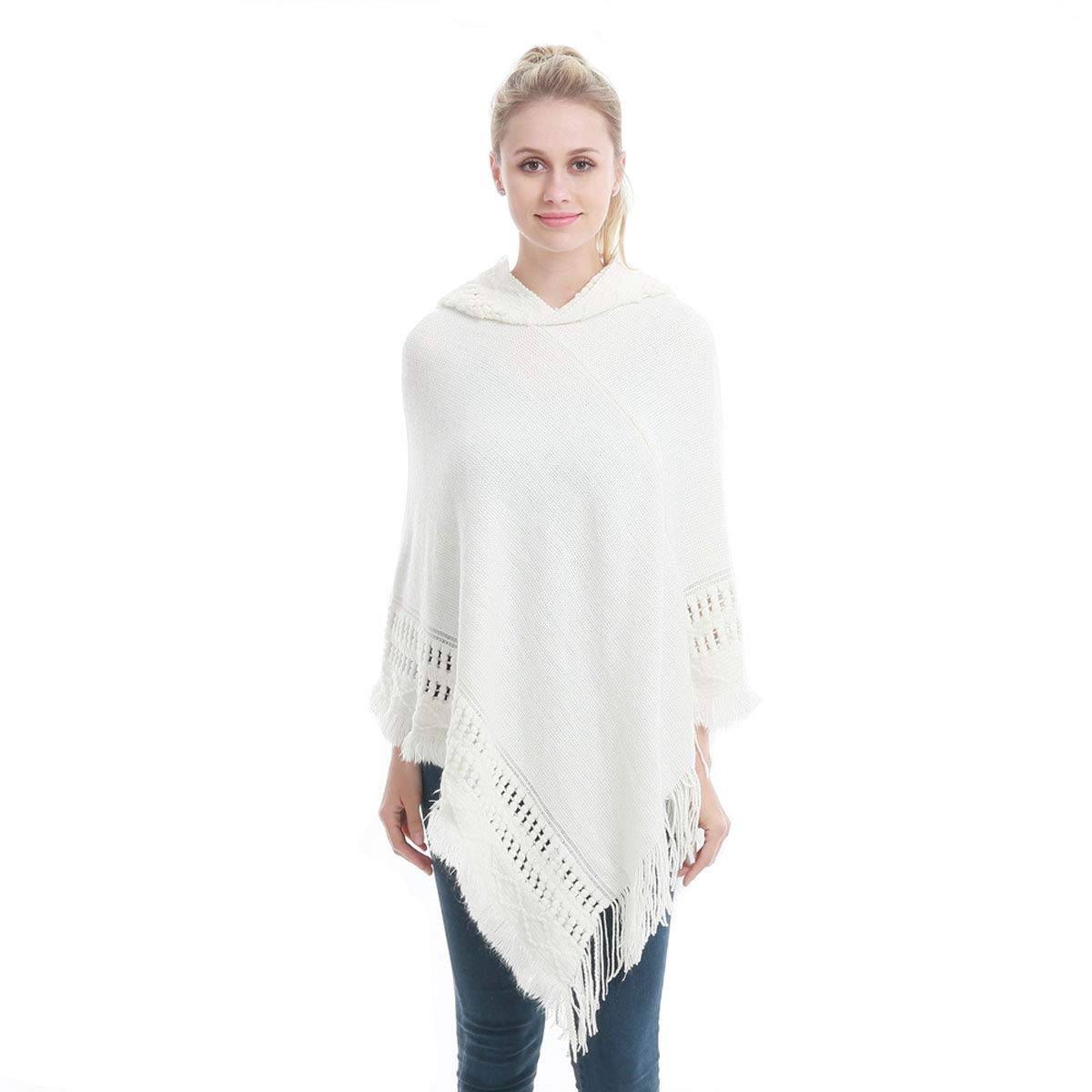 Boyzn Womens Cape Poncho Hoodie Knitted Pullover Sweater Winter Wrap Shawl Stylish Poncho Capes with Fringes