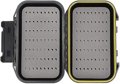 Caja de Cebo de Pesca con Mosca portátil, Caja de señuelo de Pesca de Mosca Impermeable de Doble Capa Estuche de Almacenamiento Organización de Accesorios de Pesca en Negro: Amazon.es: Deportes y