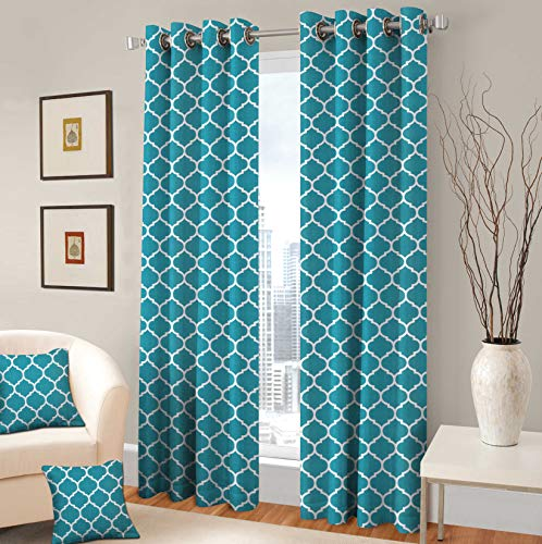 TreeWool Decorative Grommet Curtain Panel Drape Trellis Accent for Living Room Bedroom Window Treatment Set of 2 Panels, 48 x 84 , Turquoise