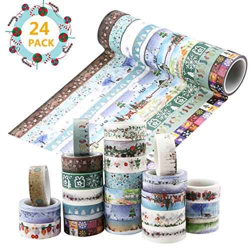 Homga Washi tape, 24 Rolls Washi DecoratingTape Washi Masking Tapes Washi Tape Set for Decorations and DIY Crafts, Assorted Colors and Patterns