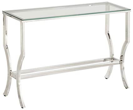 Coaster 720339 CO Glass Top Console Table, Chrome