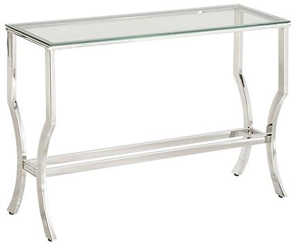 Amazoncom Coaster 720339 Co Glass Top Console Table Chrome