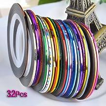 Nail Tool- SODIAL(R)32 pieces nail sticker Phil striping tape, Nail Art Tips