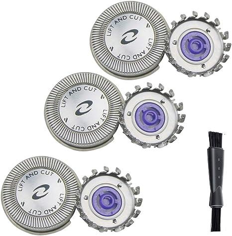 Oral-Q - Set de 3 cabezales de afeitado de repuesto para Philips HQ5426, doble cuchilla, con cepillo de limpieza: Amazon.es: Salud y cuidado personal