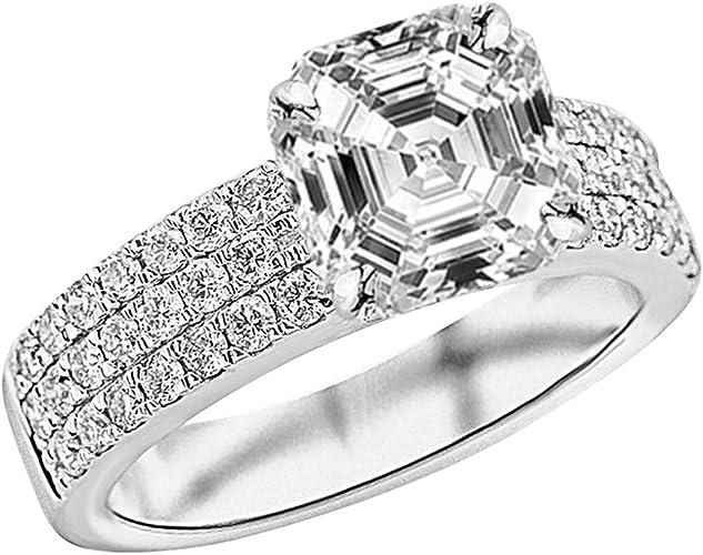 1.5 ct Brilliant Asscher Cut Designer Genuine Flawless Natural Aquamarine Stone 14K 18K White Gold Solitaire Ring