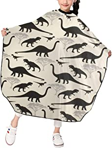 MJhair Mysterious Dinosaurs Kids Haircut Barber Cape for Hair Cutting Professional Home Salon Hairdressing Smock Cover