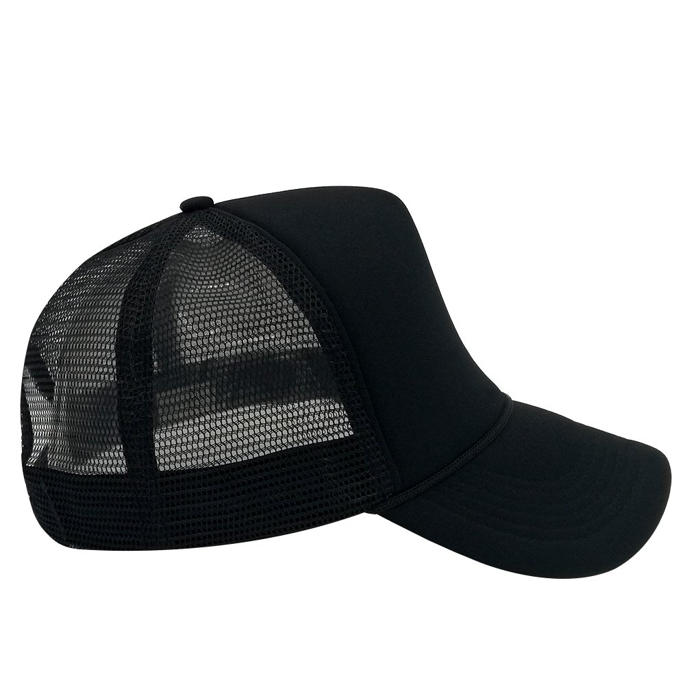 a4edb204c7a66 Unisex Plain Baseball Cap Trucker Mesh Hat Adjustable Snap Back with Rope  Front (Black): Amazon.co.uk: Clothing