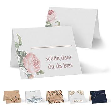 Kommunion Partycards 50 Tischkarten//Platzkarten DIN A7 f/ür Hochzeit DIN A7, Rahmen Blau Taufe Geburtstag